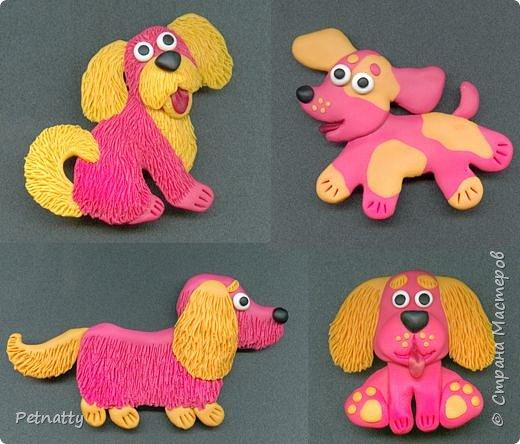 Собачки - магниты на холодильник из запекаемой пластики (цернит). Делала 12 лет назад к новому году (тогда был год красной собаки). фото 1