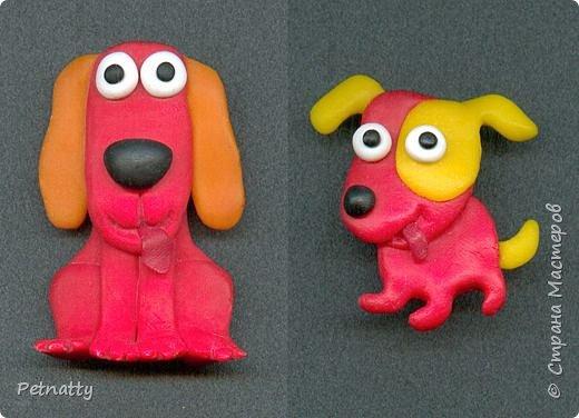 Собачки - магниты на холодильник из запекаемой пластики (цернит). Делала 12 лет назад к новому году (тогда был год красной собаки). фото 2
