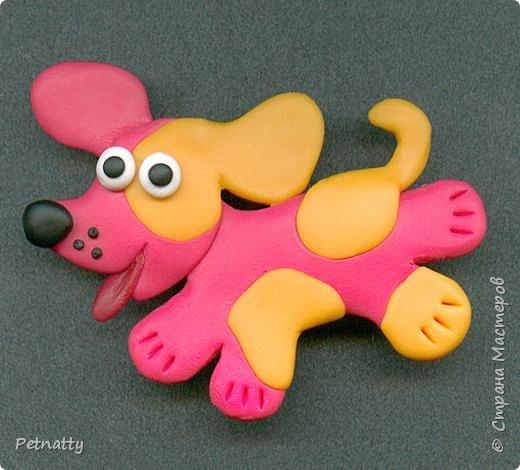 Собачки - магниты на холодильник из запекаемой пластики (цернит). Делала 12 лет назад к новому году (тогда был год красной собаки). фото 4