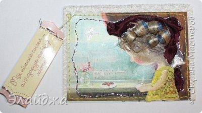 """Привет всем! Сегодня я с АТС серией, которая родилась спонтанно увидев работы мастерицы ИРИСКА 2012 , ее серию """"Счастье"""" (http://stranamasterov.ru/node/1109851). Я вспомнила, что у меня тоже есть 3 такие открыточки с картинками художницы Евгении Гапчинской , их в коробках конфет находят, есть такая серия.... Раньше их крутила-вертела и все не могла понять что с ними делать...видать всему свое время. Ириша спасибо за творческий толчек. фото 11"""