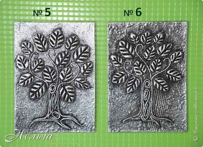 Очень мне понравились деревья у Дижи и решила я тоже сделать деревья. Теперь у меня будет пара к её деревцу. Ствол и веточки из салфеточных жгутиков, листочки из солёного теста. Два дерева - золотых, два - серебряных, и два - бронзовых.  фото 4