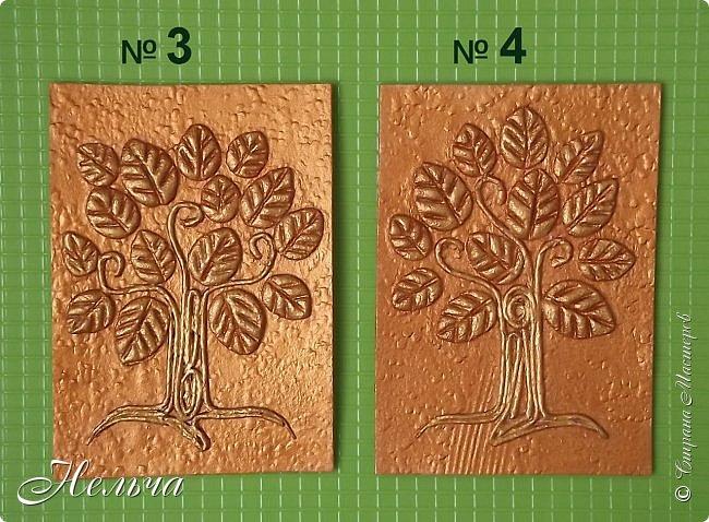 Очень мне понравились деревья у Дижи и решила я тоже сделать деревья. Теперь у меня будет пара к её деревцу. Ствол и веточки из салфеточных жгутиков, листочки из солёного теста. Два дерева - золотых, два - серебряных, и два - бронзовых.  фото 3