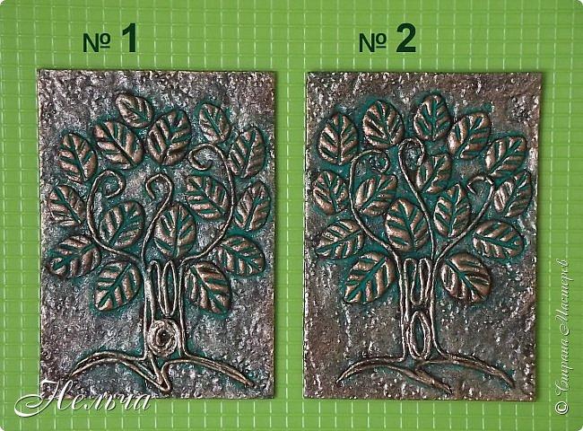 Очень мне понравились деревья у Дижи и решила я тоже сделать деревья. Теперь у меня будет пара к её деревцу. Ствол и веточки из салфеточных жгутиков, листочки из солёного теста. Два дерева - золотых, два - серебряных, и два - бронзовых.  фото 2