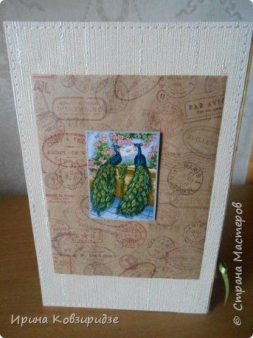 Три открытки. декорированные зелёным шёлком. фото 5