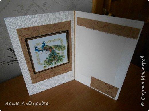 Три открытки. декорированные зелёным шёлком. фото 4