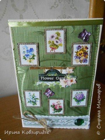 Три открытки. декорированные зелёным шёлком. фото 6