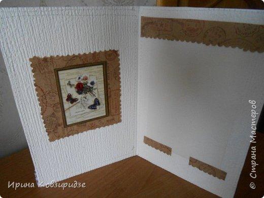 Три открытки. декорированные зелёным шёлком. фото 9