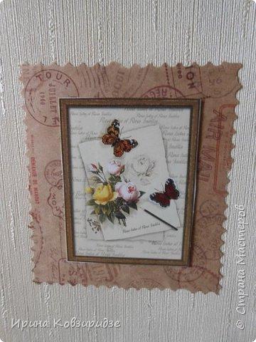 Три открытки. декорированные зелёным шёлком. фото 12