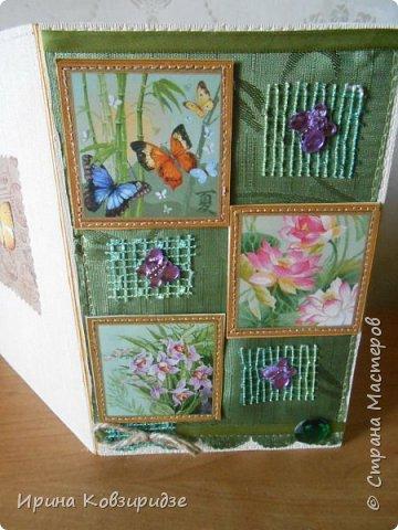 Три открытки. декорированные зелёным шёлком. фото 14