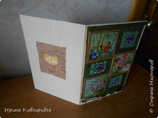 Три открытки. декорированные зелёным шёлком. фото 15
