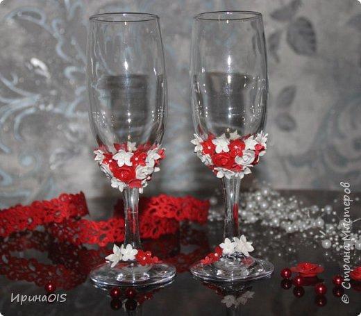Свадебный набор на годовщину свадьбы в красно-белом цвете фото 2