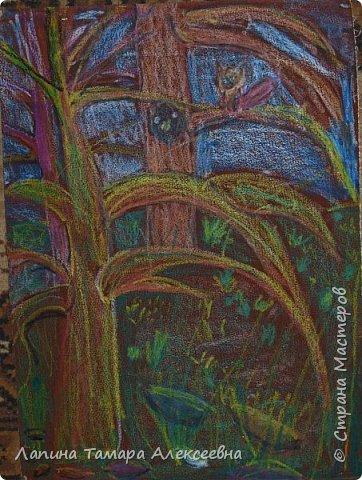 Доброе время суток, всем кто заглянул в гости. Предлагаю вашему вниманию рисунки моих учеников. Работы участвовали заочном в областном конкурсе.  Болотникова Мария 5л. представила таким волшебный лес восковыми мелками по наждачной бумаге. фото 1