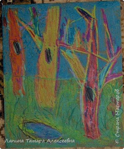 Доброе время суток, всем кто заглянул в гости. Предлагаю вашему вниманию рисунки моих учеников. Работы участвовали заочном в областном конкурсе.  Болотникова Мария 5л. представила таким волшебный лес восковыми мелками по наждачной бумаге. фото 3