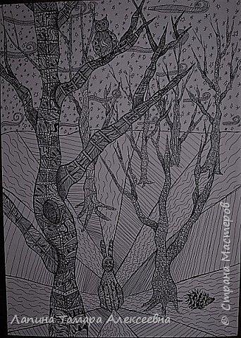 Доброе время суток, всем кто заглянул в гости. Предлагаю вашему вниманию рисунки моих учеников. Работы участвовали заочном в областном конкурсе.  Болотникова Мария 5л. представила таким волшебный лес восковыми мелками по наждачной бумаге. фото 5