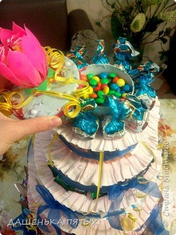 Здравствуйте дорогие гости.рада приветствовать вас на моей страничке:-) А у меня все продолжаются праздники:-)точнее подготовка подарочков.Вот такой вот тортик получился для племянницы мужа на 12 -тилетие.в состав тортика вошло 5 видов конфет и чоко-пай.всех по 18 штучек.сверху коробочка для подарка.слепила ещё заколочки из холодного фарфора:-) фото 13