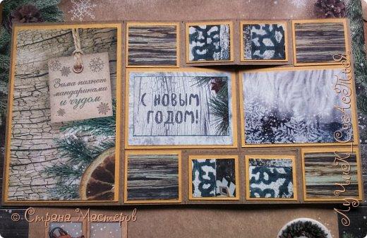 Всем привет! Сегодня хочу показать вот такую новогоднюю открытку сложной формы. Впервые сделала нечто подобное.  Идею подсмотрела у Елены (https://stranamasterov.ru/user/406052), чьи работы уже давно вызывают у меня непередоваемый восторг) фото 5