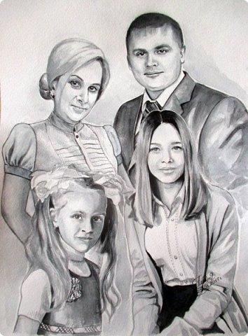 Семейный портрет. Акварель. Формат А3.  фото 1