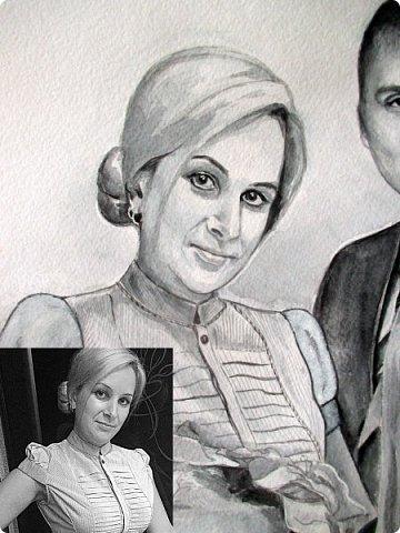 Семейный портрет. Акварель. Формат А3.  фото 10
