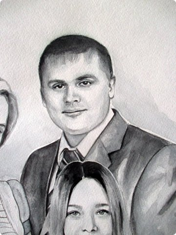 Семейный портрет. Акварель. Формат А3.  фото 6