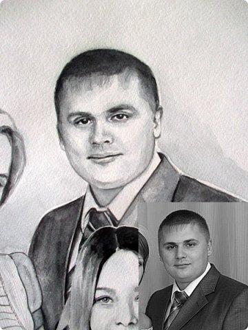 Семейный портрет. Акварель. Формат А3.  фото 11