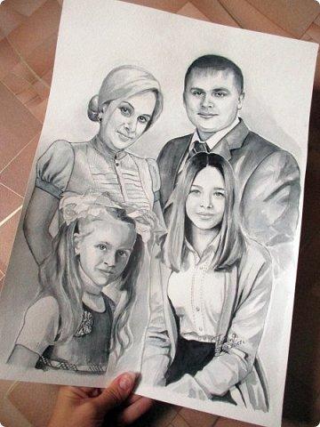Семейный портрет. Акварель. Формат А3.  фото 7