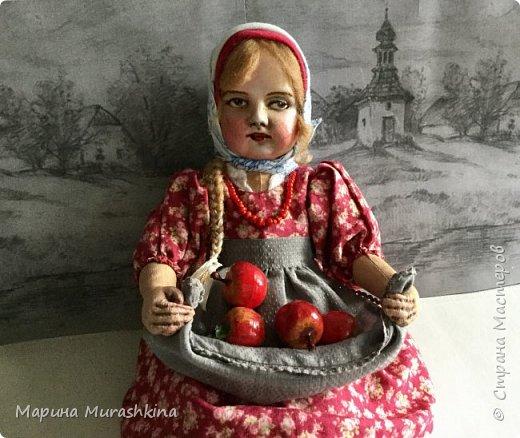 """Кукла  """"ЯБЛОЧНЫЙ СПАС"""" в технике тедди-долл...точнее, наверное, сказать 'по мотивам'. Шила я такую куклу вперые, решила вот попробовать. Что-то мне понравилось в процессе, что-то было совсем непривычным.   фото 1"""