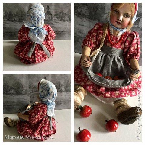 """Кукла  """"ЯБЛОЧНЫЙ СПАС"""" в технике тедди-долл...точнее, наверное, сказать 'по мотивам'. Шила я такую куклу вперые, решила вот попробовать. Что-то мне понравилось в процессе, что-то было совсем непривычным.   фото 3"""
