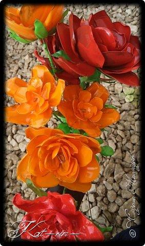 Вот такие цветы получились из обычных пластиковых бутылок.  фото 2