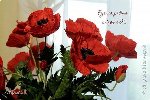 Букет маков в смешанной технике. Цветы и листья из фоамирана. фото 2