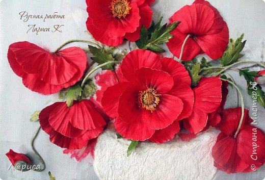 Всем привет. Хочу показать свои картины-панно с цветами из фоамирана. Распечатаны на холсте, размеры 50-40 см. фото 6