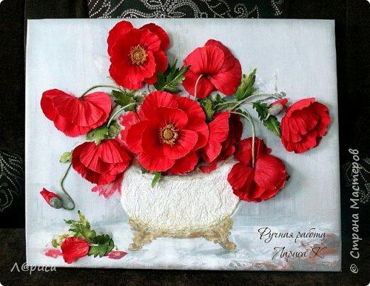 Всем привет. Хочу показать свои картины-панно с цветами из фоамирана. Распечатаны на холсте, размеры 50-40 см. фото 5