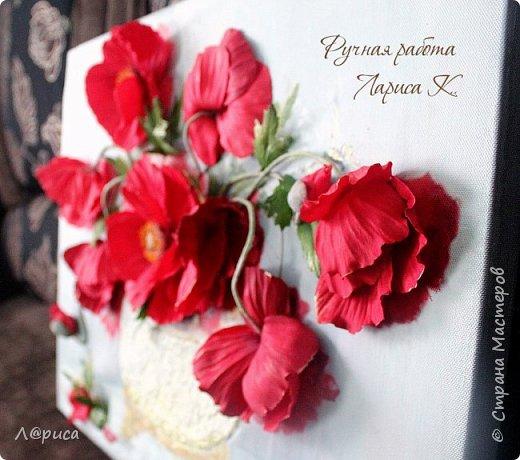 Всем привет. Хочу показать свои картины-панно с цветами из фоамирана. Распечатаны на холсте, размеры 50-40 см. фото 7