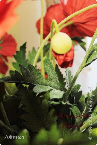 Букет маков в смешанной технике. Цветы и листья из фоамирана. фото 3