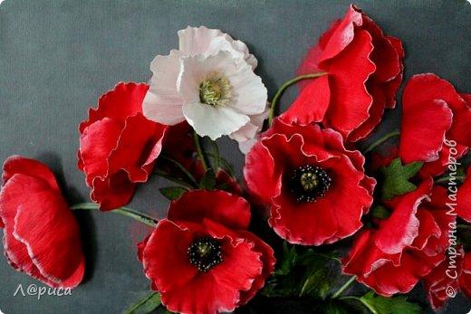 Всем привет. Хочу показать свои картины-панно с цветами из фоамирана. Распечатаны на холсте, размеры 50-40 см. фото 4