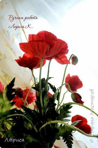 Букет маков в смешанной технике. Цветы и листья из фоамирана. фото 5