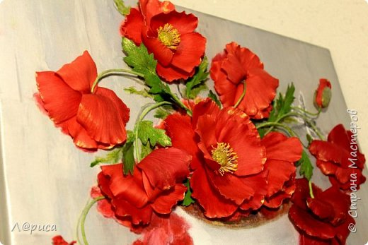 Всем привет. Хочу показать свои картины-панно с цветами из фоамирана. Распечатаны на холсте, размеры 50-40 см. фото 9