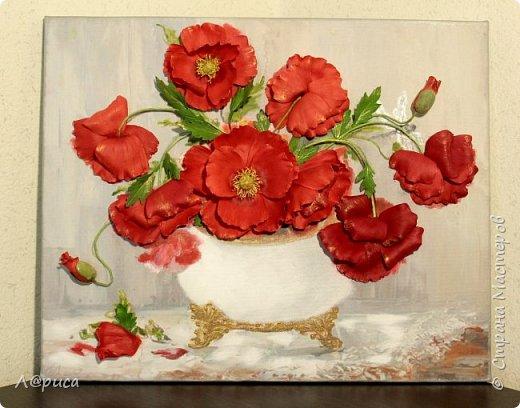Всем привет. Хочу показать свои картины-панно с цветами из фоамирана. Распечатаны на холсте, размеры 50-40 см. фото 8