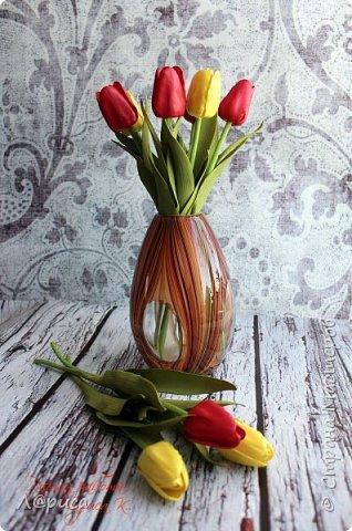 Тюльпаны из зефирного фоамирана, листья из иранского. фото 1