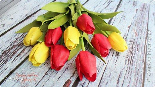 Тюльпаны из зефирного фоамирана, листья из иранского. фото 3
