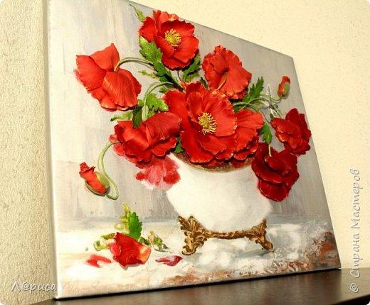 Всем привет. Хочу показать свои картины-панно с цветами из фоамирана. Распечатаны на холсте, размеры 50-40 см. фото 10