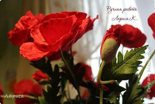Букет маков в смешанной технике. Цветы и листья из фоамирана. фото 4