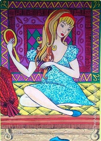 И снова рисовашки. Идея - ХУДОЖНИК - ДЕКОРАТОР ИЗ ТБИЛИСИ МЕГИ ГВЕНЕТАДЗЕ. Но цветовое решение - моё. Ну и конечно, это не точная копия. Оба рисунка выполнены на формате А4. Смешанная техника: акварель, цветные акварельные карандаши, шариковая ручка. Первый рисунок - Шахерезада Ивановна. фото 2