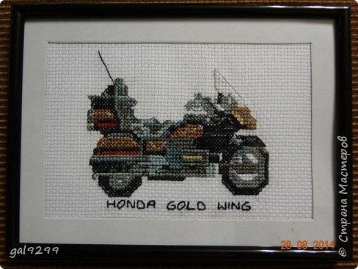 На протяжении года вышивала такие мотоциклы (схема из какого-то старого журнала). Это Харлей Девидсон Электро Глайд: фото 4