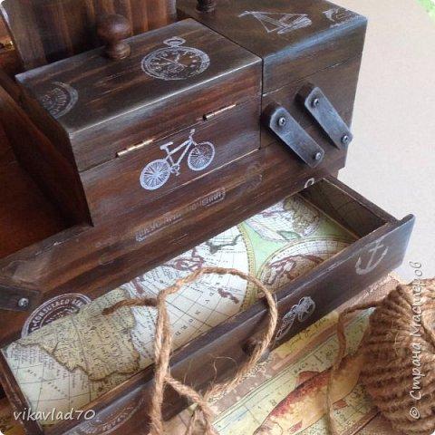 Всем здравствуйте Вот такой деревянный короб,для хранения Ваших ценностей,или приятных сердцу мелочей о путешествиях у меня получился.Приятный на ощупь,деликатно состаренный .Заготовка дерево,все материалы на водной основе,экологически чистые. Размер 25/10/12  фото 2