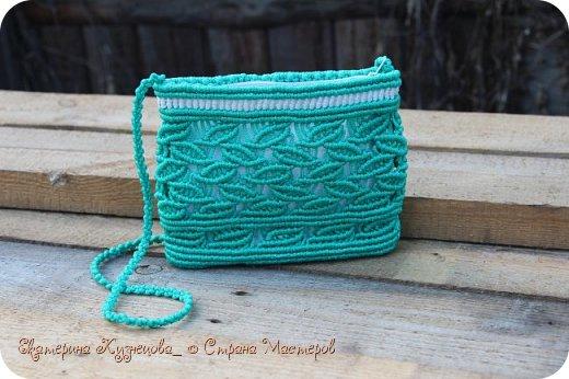 """Сегодня хочу показать вам очередную плетеную сумочку. На этот раз, зеленого цвета.  Немного о самой сумке: Выполнена из полипропиленового шнура 4 мм, подклад - белый хлопок, застежка - молния. Размеры: 24х19 см, длина ручки около 100 см.  Когда начинала плести эту сумочку, даже не знала, какой рисунок будет на ней. Единственное, в чем была уверена, так это в выборе цветов. Именно этот зеленый с белым. А потом решила, что раз зеленый, то пусть в качестве рисунка будут листья, и понеслось)). Подкладку решила взять белую, чтобы сумочка смотрелась интереснее.  Вообще, в процессе плетения у меня возникли такие ассоциации с этой сумкой: Весна, распускаются первые листочки на деревьях. Яблони готовятся выпустить первые цветы, которые вскоре превратятся в очень вкусные и сочные яблочки. Так и здесь, сквозь молодую зелень сумки пробивается белый """"цветочный"""" подклад)))) фото 2"""