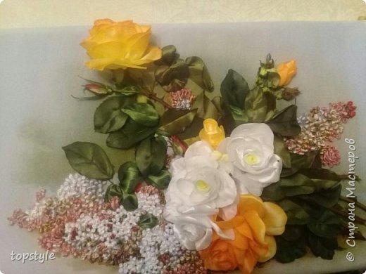 Вышивка лентами розы и сирень