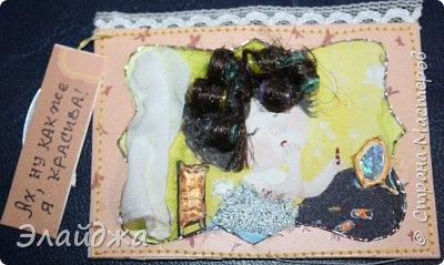 """Привет всем! Сегодня я с АТС серией, которая родилась спонтанно увидев работы мастерицы ИРИСКА 2012 , ее серию """"Счастье"""" (http://stranamasterov.ru/node/1109851). Я вспомнила, что у меня тоже есть 3 такие открыточки с картинками художницы Евгении Гапчинской , их в коробках конфет находят, есть такая серия.... Раньше их крутила-вертела и все не могла понять что с ними делать...видать всему свое время. Ириша спасибо за творческий толчек. фото 19"""