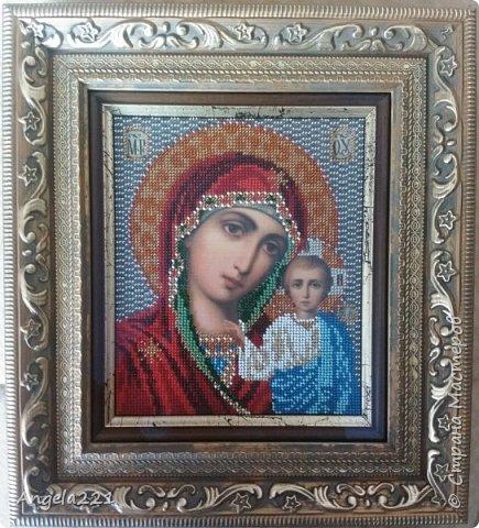 Подарок для крестницы - образ Казанской божьей матери. Вышивка ювелирным бисером размером 12 на 14,5 см. С рамкой размер составляет 22 на 24,5 см. фото 2