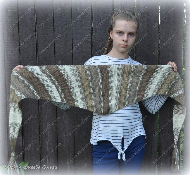 К осени связала несколько удобных и теплых шарфов-бактусов. фото 6