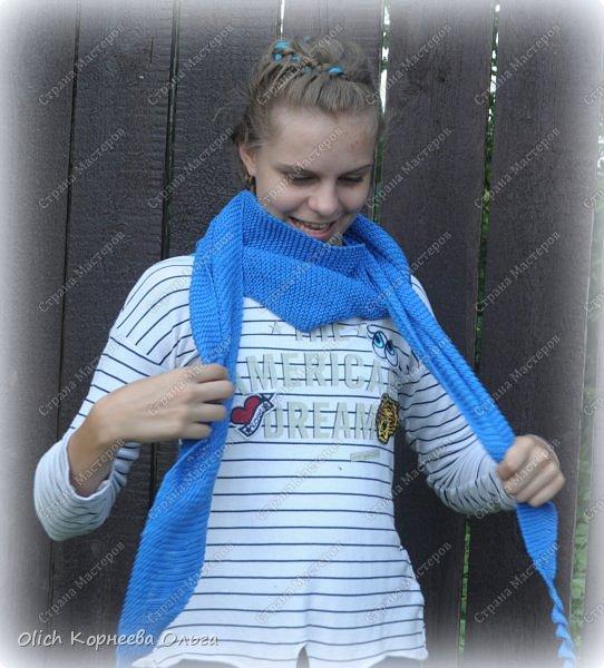 К осени связала несколько удобных и теплых шарфов-бактусов. фото 3